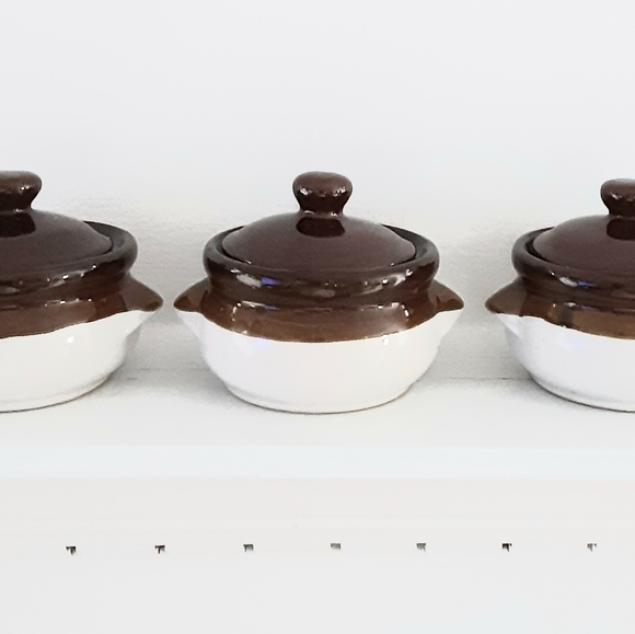 Vintage Other - French Onion Soup Bowls with Lids (three bowls)